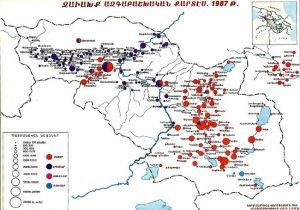 Demographic map of Samtskhe-Javakhk in 1987