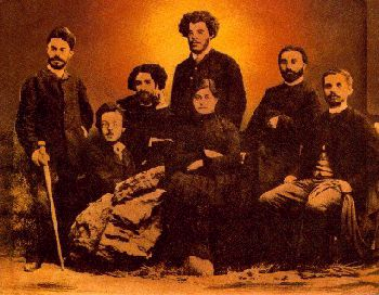 Founding members of the Social Democrat Hunchakian Party. Left to Right: Roupen Khanazad, Boghos Afrigian, Avedis Nazarpegian, Kevork Gharachian, Kapriel Gafian