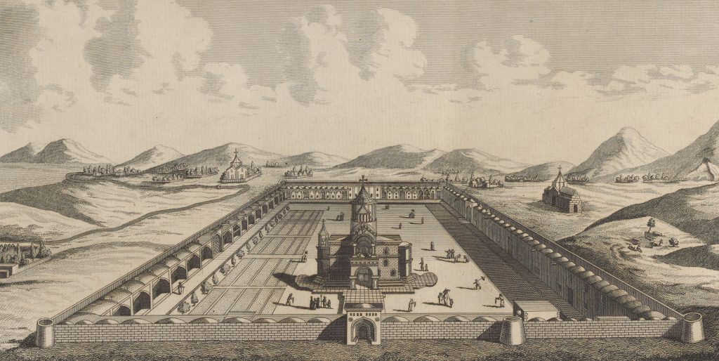 The Etchmiadzin Cathedral (Armenia) and the surrounding according to French traveler Jean Chardin, 17th century